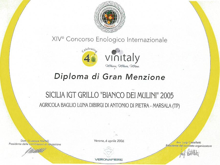 """Sicilia IGT Grillo """"Bianco dei Mulini"""" 2005"""